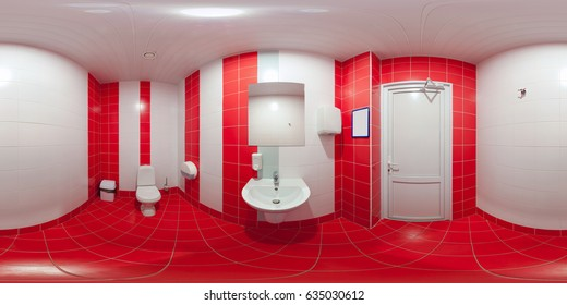 Rectangular sweep of equidistant panorama inside public loo for men and women.