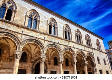 Rector's palace and blue sky. Old street in Dubrovnik. Croatia, Europe