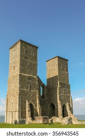 Reculver Towers interior side oblique angle.