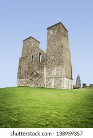 reculver towers roman saxon shore fort and remains of 12th century church undercut by coastal erosion herne bay on the kent coast in england