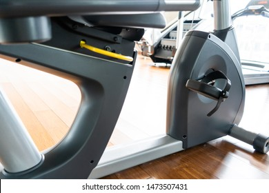 recumbent bike in the gym,close up