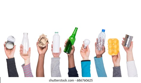 Recyclable rubbish held in hands isolated on white background