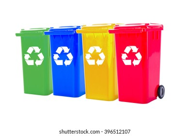 Recycle bin colorful  for trash your garbage and seperate type object for reuse protect our environment.