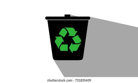 Recycle Bin graphic long shadow black and white