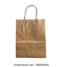 recycle brow paper bag on white background