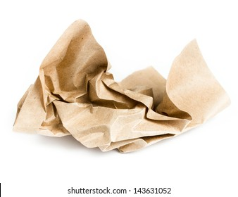 Recycle brown crumpled paper on white background