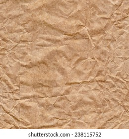 Recycle Brown Kraft Paper, Bag coarse grain, crumpled, bleached, mottled grunge texture detail.