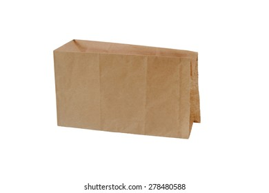 recycle brown paper bag isolated on white background with clipping path