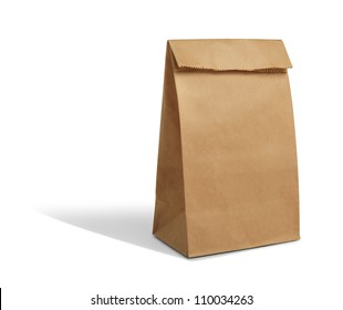recycle brown paper bag mockup isolate