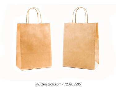 Recycle Brown paper bags isolated on white background.
