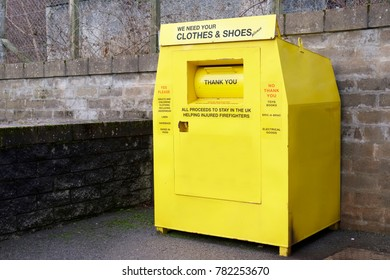 Recycle Clothes Textiles Shoes Charity Yellow Steel Container Save the Environment