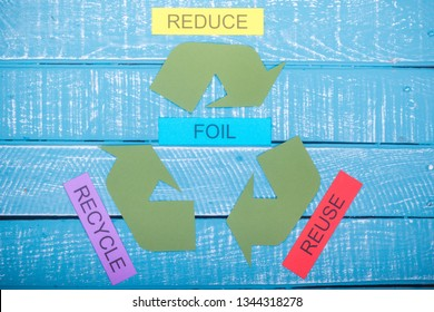 Recycle concept showing the green recycle logo with reduce,reuse,recycle & foil on a blue weathered background