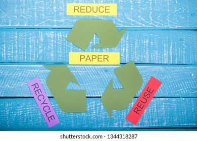 Recycle concept showing the green recycle logo with reduce,reuse,recycle & paper on a blue weathered background