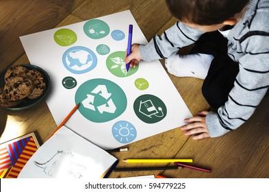 Recycle eco friendly green icons