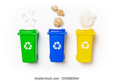 Recycle garbage. Yellow, green, blue dustbin for recycle plastic, paper and glass can trash isolated on white background. Bin container for disposal garbage waste and save environment