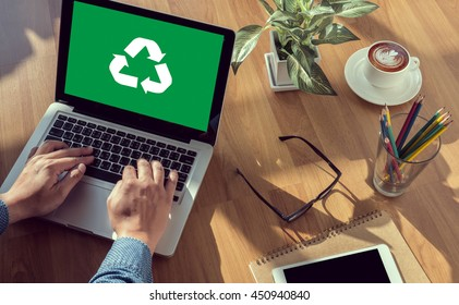 Recycle Green bio eco forest saving environment harmony ecosystem conservation csr esg campaign man hand on table Business, coffee, Split tone