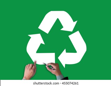 Recycle Green bio eco forest saving environment harmony ecosystem conservation csr esg campaign businessman work on white broad, top view