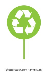 Recycle icon over abstract tree illustration isolated on white background
