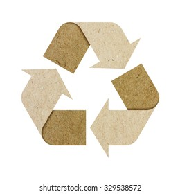 Recycle logo isolated made of cardboard with Clipping Path included.