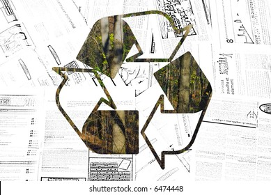 Recycle Logo Showing Trees through Newsprint