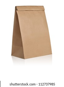 recycle paper bag mockup is on white background with clipping path
