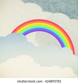 recycle paper cloud and rainbow