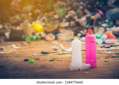Recycle plastic concept, Bottle plastic for recycle on blurred bottle pile tranfet to plastic industry.