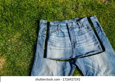 Recycle, reuse, repurpose, upcycle, upgrade concept. New life to old things, make your own clothes from boyfriend jeans