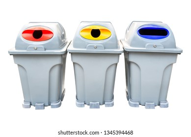 Recycle rubbish bin group isolated on white background with clipping path