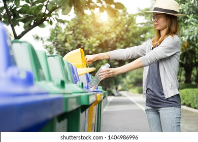 Recycle rubbish waste management people, Woman separate plastic bottle to container recycle bin. Waste separation rubbish to garbage bin, environment care pollution trash recycling management concept.