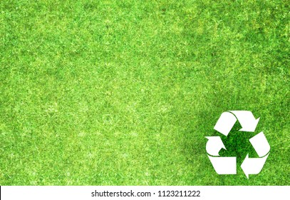 Recycle Symbol With Grass Texture Images Stock Photos