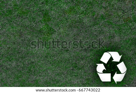 Recycle Sign Grass Texture Background Stock Photo Edit Now