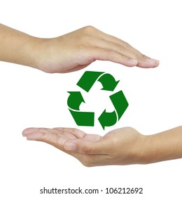 recycle sign in hand.