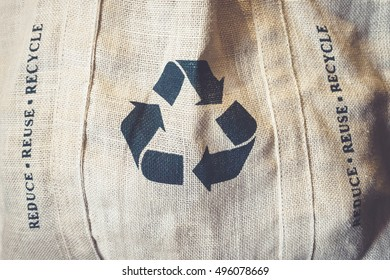 Recycle sign Symbol on Eco Shopping bag Environmental friendly