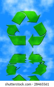 Recycle symbol with blue sky and water reflection