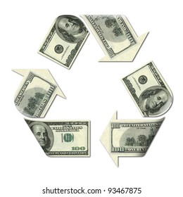 recycle symbol made with dollars banknotes 3d illustration