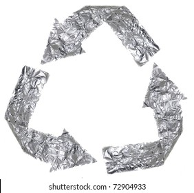 The recycle symbol made out of aluminium