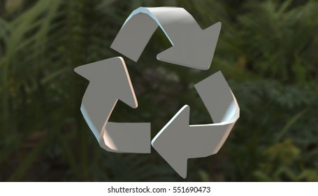 Recycle symbol on various material and background, 3d render