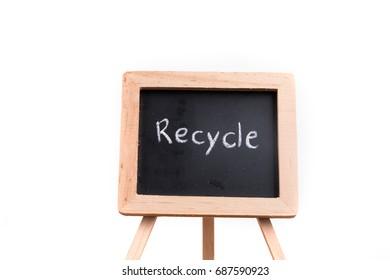 Recycle text written on a blackboard