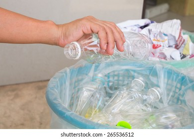 Recycle trash with bottles and paper