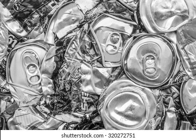 recycle used can for background.
