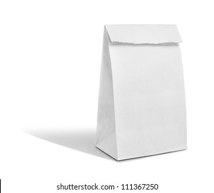 recycle white paper bag mockup isolate