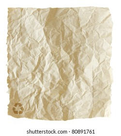 recycled crumpled paper isolated on white