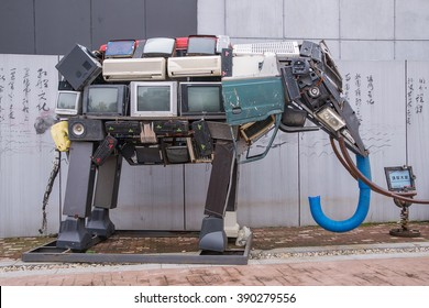 Recycled metal Robots theme park of Zhejiang, Hangzhou China - 28th March, 2015 : stack of old computer equipment transformed into an elephant