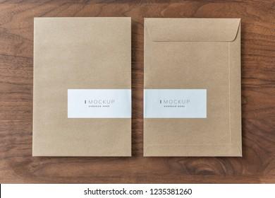 Recycled natural paper envelope mockups