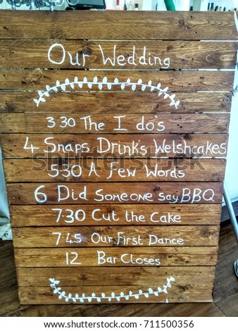 recycled pallet wedding program sign stock photo edit now