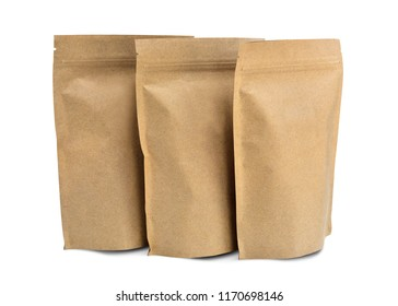 Recycled paper bag for snacks isolated on white background. This has clipping path.