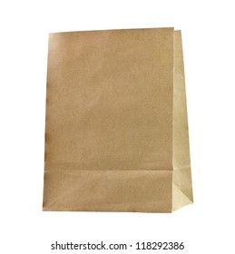Recycled paper bags on white background.