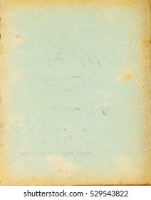 Recycled paper cover page with stains, dark borders and text imprint
