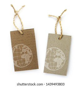 Recycled paper label with pictogram: earth globe